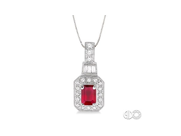 Pendants - Lady's White 14 Karat Drop Pendant With One 6X4Mm Emerald Cut Ruby And 22=0.26Tw Round H/I Si3 Diamonds on 18