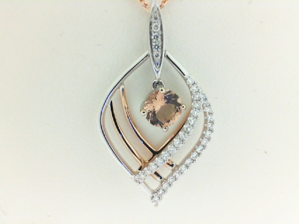 Pendants - Lady's Two Tone 18 Karat Dangle Pendant With One 0.40Ct Round Morganite And 37=0.18Tw Round Diamonds (chain not included)