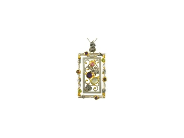 Pendants - Michou Lady's Two Tone Sterling Silver/22Kt Vermeil Drop Pendant on 18