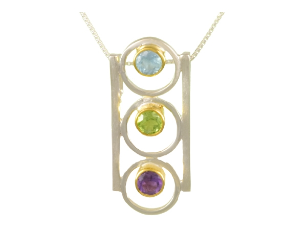 Pendants - Michou Lady's Two Tone Sterling Silver/22Kt Vermeil Drop Pendants one Round Sky Blue Topaz one Round Peridot one Round African Amethyst