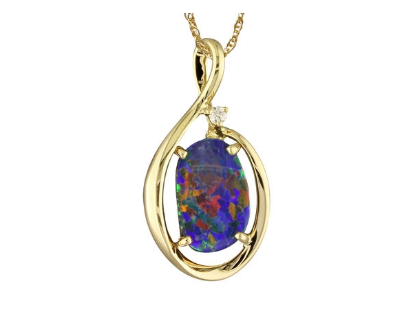Pendants - Lady's Yellow 14 Karat Pendant With One Various Shape Opal And One 0.03Ct Round Diamond Gold Gm Wt: 2.3 Chain Not Included