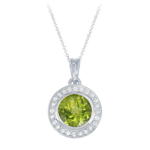 Pendants - Lady's White Sterling Silver Pendants With One 1.15Ct Round Peridot And 24=0.09Tw Round White Topazs