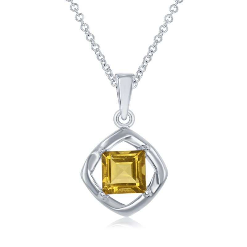 Pendants - Lady's White Sterling Silver Drop Pendants With One 1.03Ct Princess Citrine