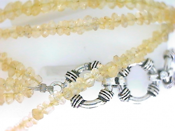 Necklace - Lady's Sterling Silver Antiqued Citrine Bead Necklace