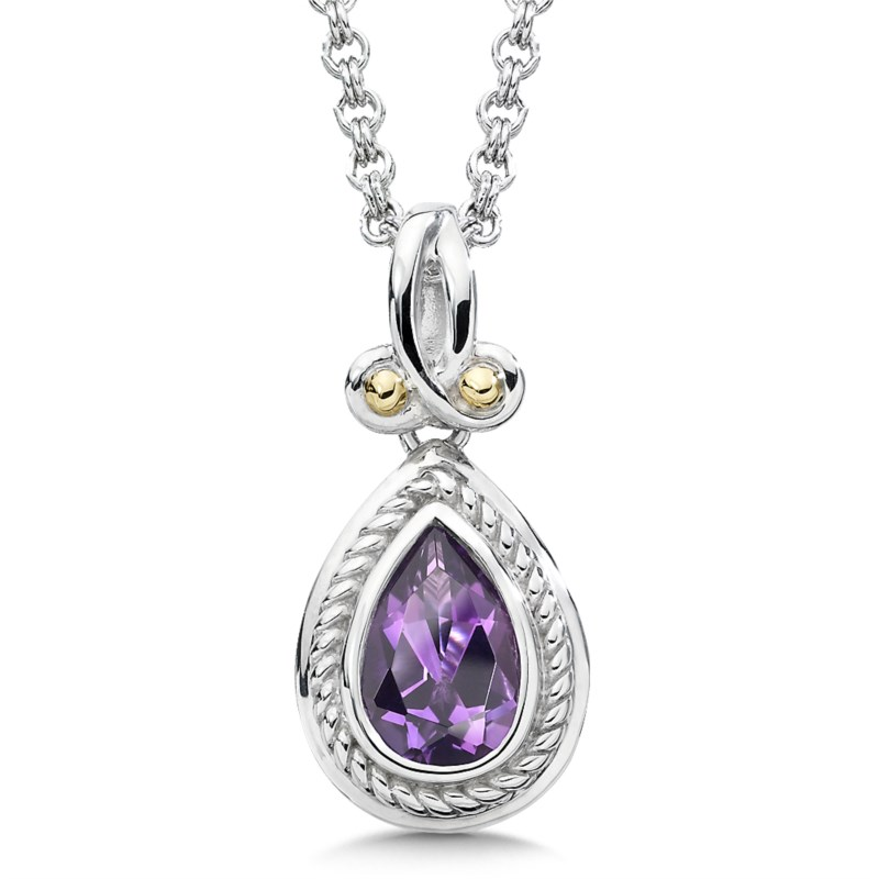 Necklace - COLORE SG LZP506-AM Sterling Silver, 18K Gold and Purple Amethyst Pendant. A delightful sterling silver and 18kt gold pendant with a 9x6 mm amethyst center.