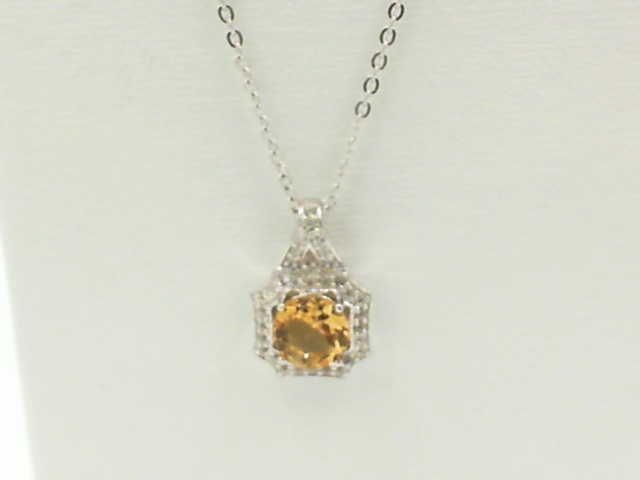 Necklace - Lady's White Sterling Silver Necklace Length 18 With One 0.70Ct Round Citrine And 32= Round WhiteTopazs