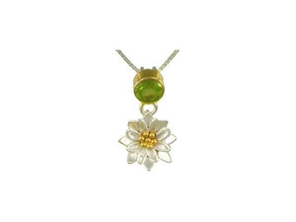 Necklace - Michou Lady's White Sterling Silver/22Kt Vermeil Flower Necklace Length 18 With One Round Peridot