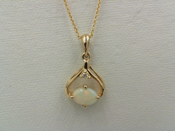 Necklace - Lady's Yellow 14 Karat Necklace Length 18 With One Oval Opal And One 0.02Ct Round Diamond