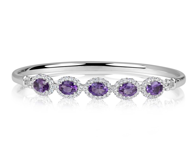 Bracelet - Benjamin Cohen Lady's White Sterling Silver Bangle Bracelet With 5=3.00Tw Oval Amethysts And 70=1.12Tw Round Topazs