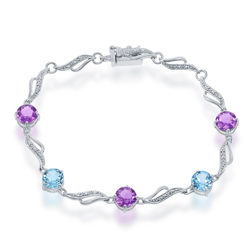 Bracelet - Lady's White Sterling Silver Bracelet Length 7 With 3= Round Amethysts And 2= Round Blue Topazs, Ctw=11.39