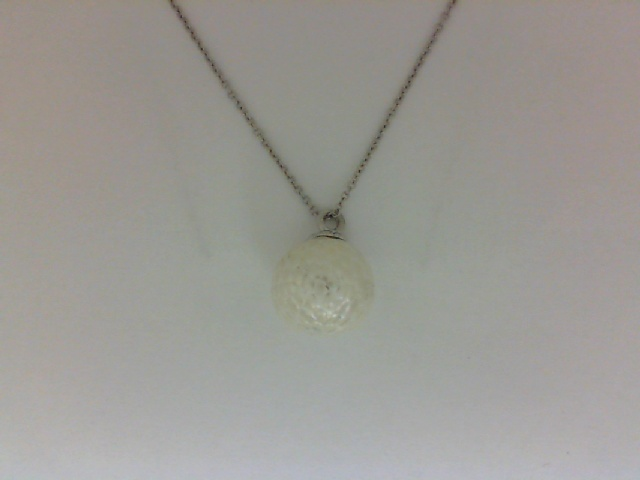 Pendant - Lady's White 14 Karat Carved Pearl Pendant With One =11.00Mm  Round Freshwater  Pearl HALF OFF ITEMS ARE NOT RETURNABLE