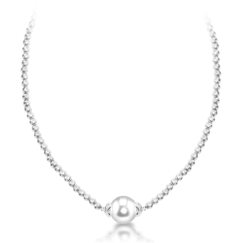 Strand - IMPERIAL 668012/RH Lady's White Sterling Silver W/Rhodium Diamond Cut Beads Length 18 With One Fresh Water Pearl