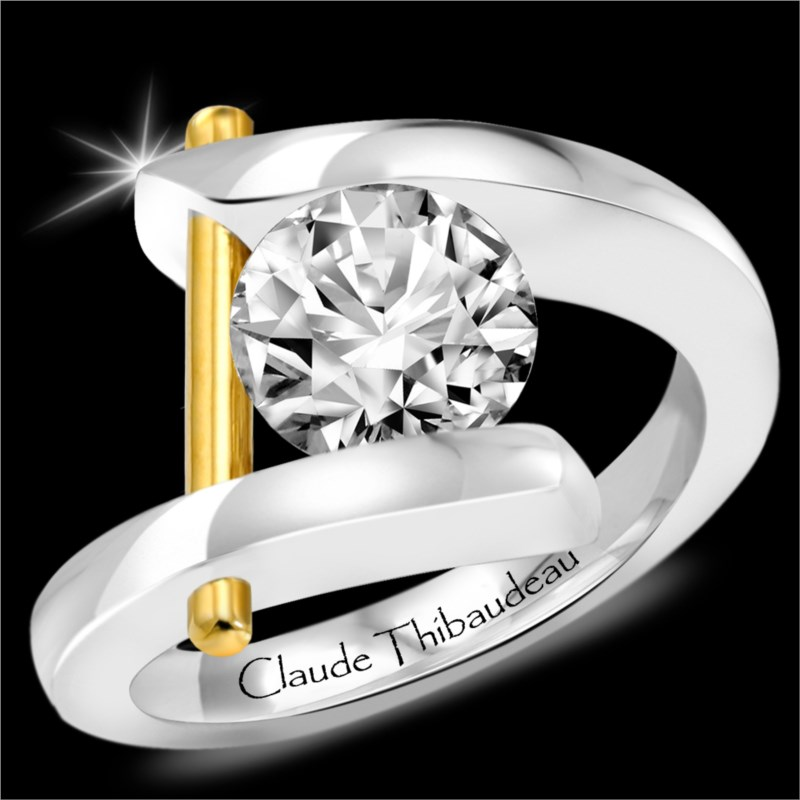 Gold Engagement Semi-Mounts - CLAUDE THIBAUDEAU MODPLT-365 Lady's Gold Engagement Semi-Mounts fits One 7.mm Round Center Stone, Style: Contemporary Metal: 18K- palladium blend (nickel free) /24kt ),  Color: Two Tone, Size: 7, Gm Wt: 9.3 / Price Does not include center Diamond, which is sold separately