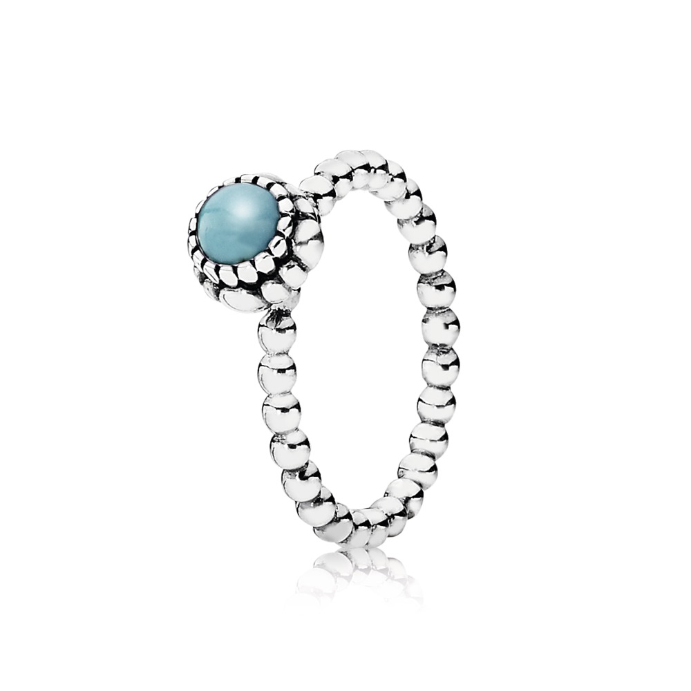 Pandora Ring - Birthday Blooms, December, Turquoise