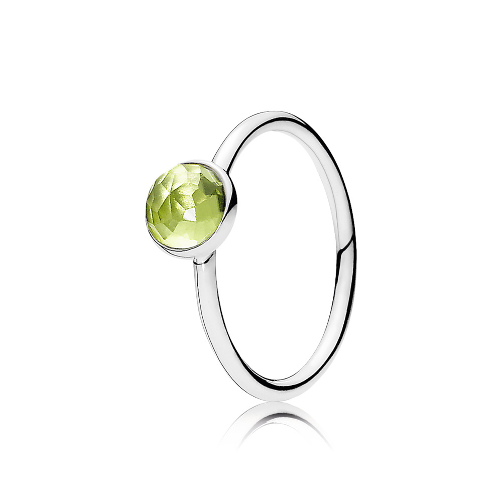 Pandora Ring - Ring August Droplet with Flower Dome-Cut Birthstone Peridot