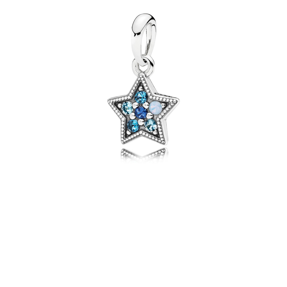 Pandora Necklace - Star pendant in sterling silver with Swiss blue, opalescent, sky, and royal blue crystals