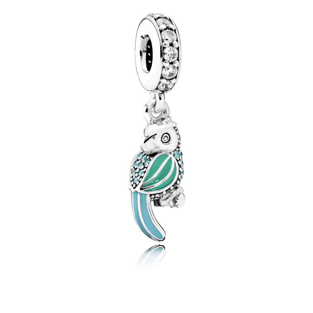Pandora charms - Dangle Tropical Parrot with  Tropical Green & Turquoise Enamel, Teal & Clear Cubic Zirconia