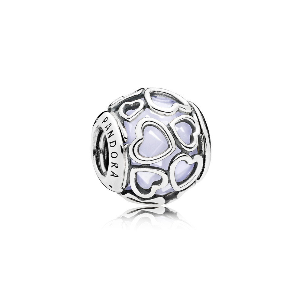 Pandora charms - Heart charm in sterling silver with encased faceted opaleescent white crystal