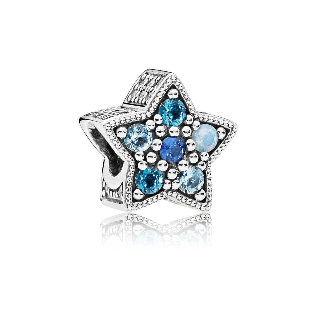 Pandora charms - Star charm in sterling silver with Swiss, opalescent, sky, and royal blue crystals and clear cubic zirconia