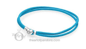 Pandora Bracelet - Double fabric cord bracelet in turquoise with heart-shaped lock in sterling silver