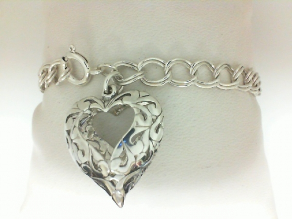 Bracelet - Sterling Silver Double Link Charm Bracelet with 3D Heart Charm, Length 6.5, Weight: 8.6 gm