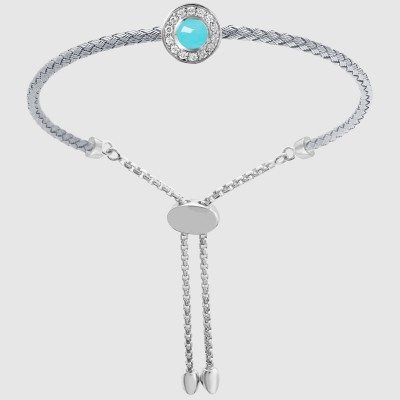 Bracelet - STEERLING SILVER 3MM MESH BOLO BRACELET, JANICE WITH TURQUOISE DOUBLET, RHODIUM FINISH