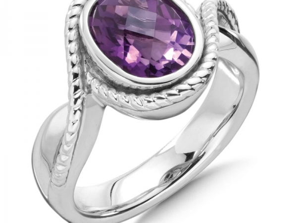 Ring - White Sterling Silver  Fashion Ring With One Oval Amethyst Size 7