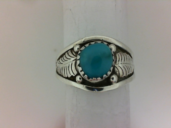 Ring - Sterling Silver Southwestern Ring Size 8.5 with 8.00 mm  x 7.00 mm Oval Turquoise HALF OFF ITEMS ARE NOT RETURNABLE