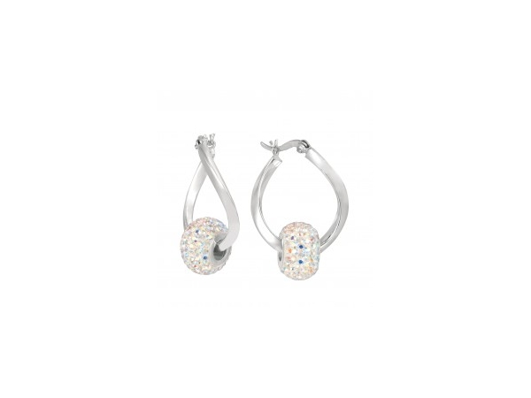 Earrings - Lady's White Sterling Silver Twisted Hoop Earrings  (Hoops only - beads sold separately)
