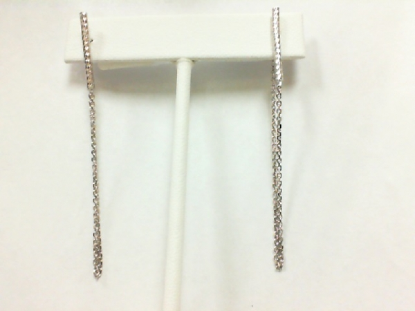 Earrings - Lady's Sterling Silver Bar Stud Earrings with Dangle Chain