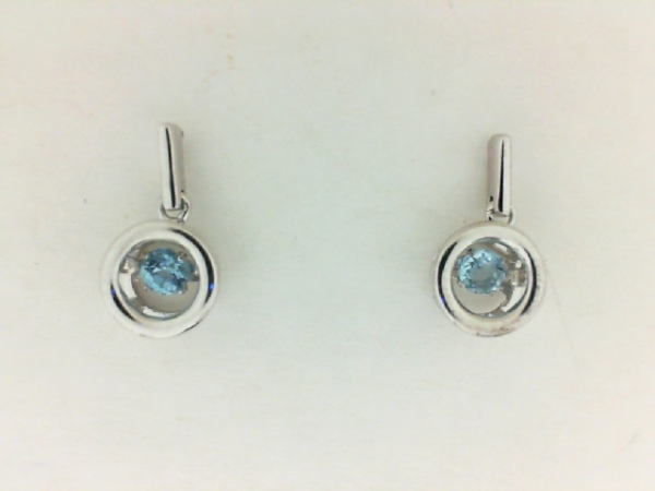 Silver Earrings with Stones - Lady's Rhythm of Love Silver Earrings With 2=0.27Tw Round Blue Topazs