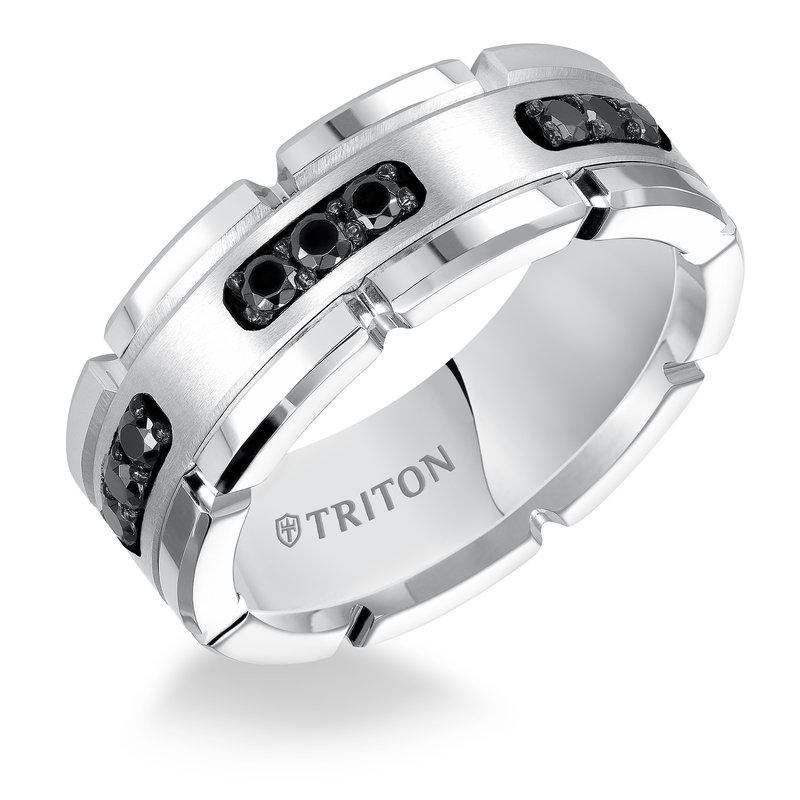 Tungsten Carbide - TRITON 22-5252SHC 8mm White Tungsten / Silver Band With 9=0.33Tw Round Black Diamonds, Size 10 (available to be special ordered in other sizes)