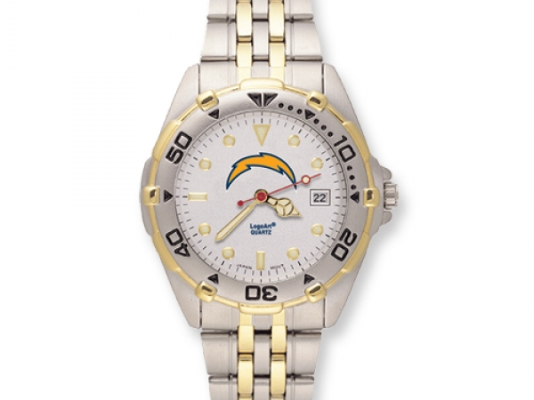Gent's Watch - NFL San Diego Chargers All-Star Watch, Attributes: 3 atm water resistance, Brass case, Chrome-plated, Deployment buckle, Dial with date, Extra links, no charge Ionic, brushed, Luminous hands, Luminous markers, Mens, Mineral crystal, Miyota Quartz mvt, Rotating bezel, Screwdown caseback, Stainless steel band, Stainless steel caseback, Two-toneWater resistant