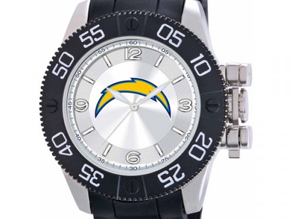 Gent's Watch - NFL SAN DIEGO CHARGERS Officially Licensed Team Logo, Stainless steel case back, Japan quartz movement, Water resistant to 3 ATM (99 ft.), Limited lifetime warranty, Heavy Duty Polyurethane strap with sports buckle, Scratch Resistant Mineral Crystal