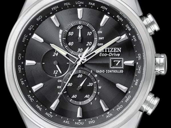 Gent's Watch - CITIZEN ECO-DRIVE AT8010-58E WORLD CHRONOGRAPH A-T Citizen Eco-Drive Radio-Controlled Chronograph World Timer. Automatic time in 26 world cities; radio-controlled accuracy in 5 zones. 1/20 second chrono measures up to 60 minutes, perpetual calendar, 12/24 hour time, power reserve indicator, date, non-reflective sapphire crystal, and 200M WR. Crafted in stainless steel with black dial. WATCH FEATURES Movement Eco-Drive H800, Atomic Timekeeping, Radio Controlled Functions~09Atomic Timekeeping Tech