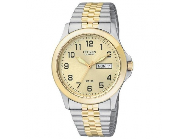 Gent's Watch - CITIZEN QUARTZ BF0574-92P Men's Expansion Band Champagne Dial, Two-Tone Stainless Steel Bracelet, Champagne Dial, Expansion Band, 50 Meter Water-resistant, Day-Date, 3 Hand Basic