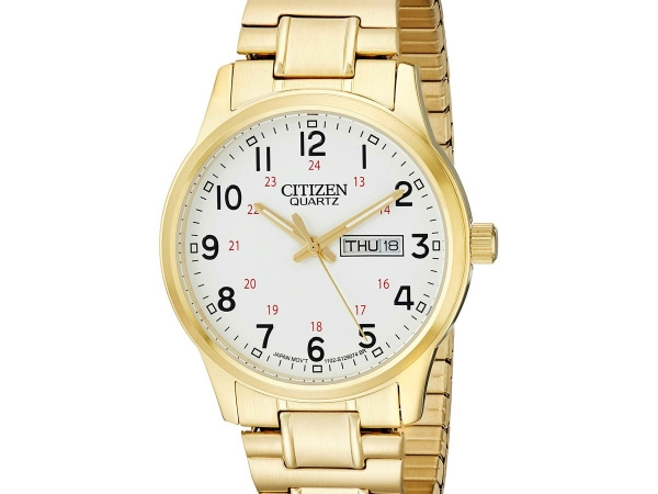 Gent's Watch - CITIZEN QUARTZ BF0612-95A Citizen® Men's Gold-Tone Stainless Steel Expansion Strap Watch It's easy to see why this classic men's watch is a long-time favorite of so many. With its timeless design and fashionable gold-tone look, this style features day and date windows for quick, easy reference. Brand: Citizen Dial Color: White Strap: Gold-tone stainless steel  Movement: Quartz Case Width: 38mm Case Thickness: 9.5mm Bracelet Dimensions: 7⅞