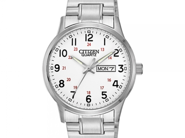 Gent's Watch - CITIZEN QUARTZ  BF0610-91A Citizen® Men's Easy Reader Silver-Tone Expansion Strap Watch With timeless styling, this silver-tone watch makes it easy to tell time. It features prominent Arabic numerals on a white dial, making them especially easy to read. The day/date function and expansion strap are other details you'll love. Brand: Citizen Dial Color: White Strap: Stainless steel Movement: Quartz Case Width: 38mm Case Thickness: 9.5mm Bracelet Dimensions: 7⅞