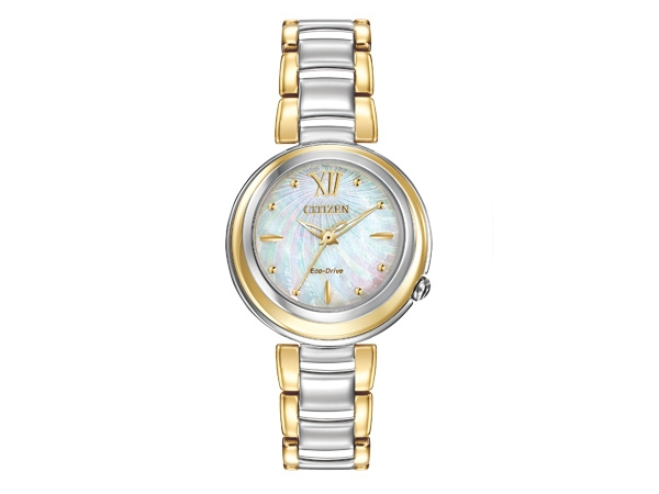Ladies Watch - CITIZEN ECO-DRIVE EM0337-56D SUNRISE Stunning, stylish and daring - CITIZEN L® introduces an iconic timepiece made especially for women. With an elegant white Mother-of-Pearl dial and sapphire crystal, the Sunrise series sets the standard for timeless women's fashion. In a reverse two-tone stainless steel case and bracelet. WATCH FEATURES Movement Eco-Drive E031 Functions~093 Hand Band Two-Tone Stainless Steel Bracelet, Deployment Clasp with Push Button Case Size~0930mm Case Material Two-Tone S