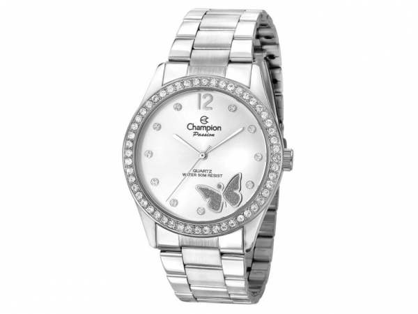Ladies Watch - CHAMPION CN28900Q Passion Ladies Watch with Crystal Bezel and Pave Butterfly, Stainless Steel case and band and silver tone face, 100% Authentic with 1-Year Champion Watch International Backed Warranty