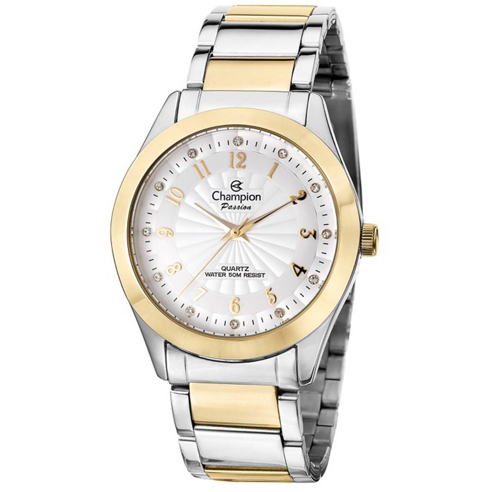 Ladies Watch - CHAMPION CN29409S Passion ladies wristwatch, two tone, stainless steel, crystal dial markers, Yellow Gold Toned Numerals and pillowed face, deployment buckle clasp, 100% Authentic with 1-Year Champion Watch International Backed Warranty.