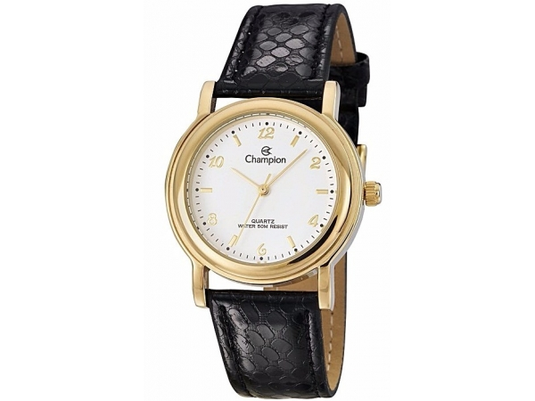 Ladies Watch - CHAMPION CN28080B Glamour Wristwatch, Stainless Steel with Yellow Gold Tone, Black Leather Strap, 100% Authentic with 1-Year Champion Watch International Backed Warranty.