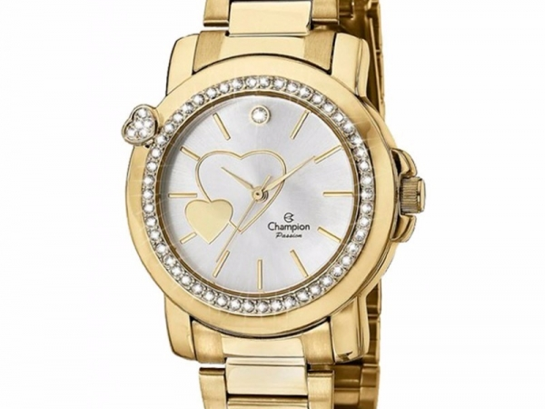 Ladies Watch - CHAMPION CH24197H Passion Stainless Steel with Gold Tone, White Crystals and Heart on case, 100% Authentic with Champion Watch International Backed Warranty.