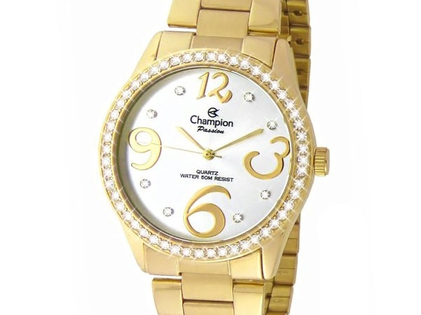 Ladies Watch - CHAMPION CH24464H Passion Ladies Watch, Stainless Steel with Yellow Gold tone & Crystals around Bezel and Gold and Crystal Markers over Silver Tone Face, 100% Authentic with Champion Watch International Backed Warranty.