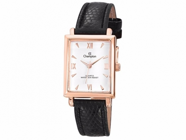 Ladies Watch - CHAMPION CN28053Z Glamour Ladies Watch, Stainless Steel Case with Rose Gold Tone, White Face and Black leather strap, 100% Authentic with Champion Watch International Backed Warranty.