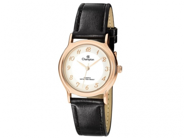 Ladies Watch - CHAMPION CN28026Z Glamour Ladies Watch, Stainless Steel Case with Rose Gold Tone, White Face and Black leather strap, 100% Authentic with Champion Watch International Backed Warranty.