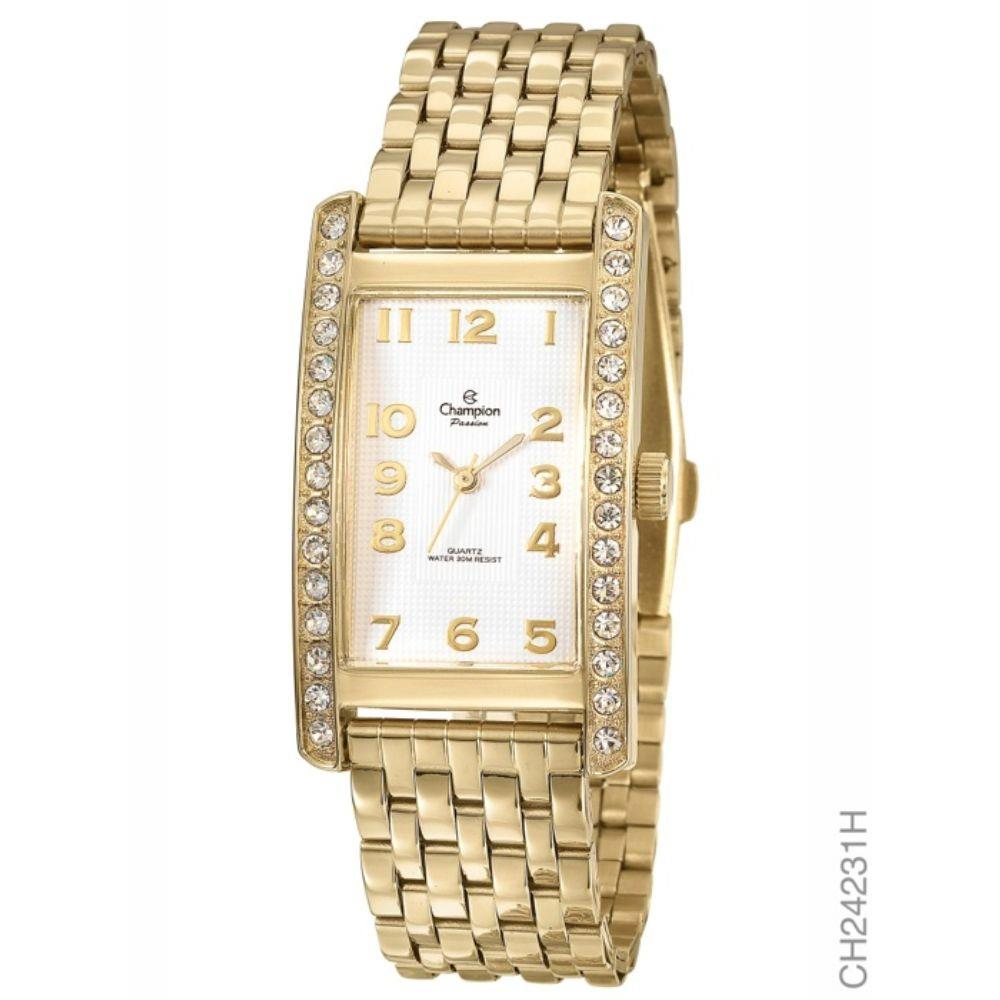 Ladies Watch - CHAMPION CH24231H Passion Ladies Watch, Stainless Steel with Yellow Gold tone & Crystals on either side of Bezel and Gold numbers over white textured face, 100% Authentic with Champion Watch International Backed Warranty.