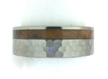 Wood Inlay Rings - LASHBROOK Titanium / Wood flat band with 2.5mm inlaid groove with Red Oak Burl, Hammered finish, Comfort fit, Width: 8mm ,Size 10 (8F(1)2.5GOC-HB100-HI-ROB)