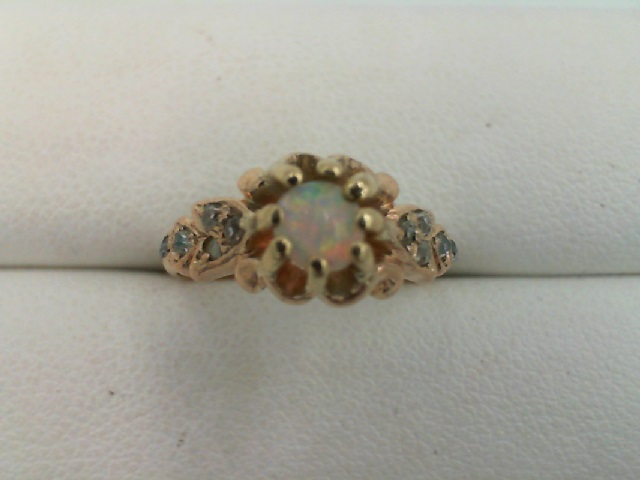 001-907-00026 - ESTATE Ladies 10kt Yellow Gold opal gemstone Ring With One Round Opal And 10= Rough Diamonds Size 3.5 (HALF OFF ITEMS ARE NOT RETURNABLE)