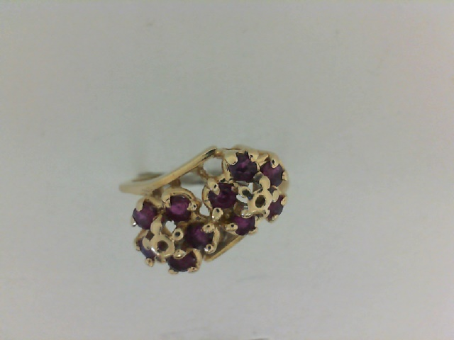 001-907-00055 - Estate 14K Yellow Gold Ring Size 7 With 10=0.30Tw Round Rubys, 3.1g, HALF OFF ITEMS ARE NOT RETURNABLE